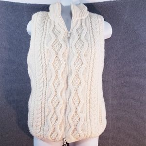 Express Cable Puffer Vest Ivory Sweater Knit Puffy